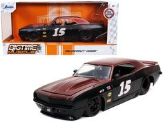 """1969 Chevrolet Camaro #15 """"Jeeger"""" Matt Black and Red """"Bigtime Muscle"""" 1/24 Diecast Model Car by Jada Outside Toys For Toddlers, Kids Toys For Boys, Diy Toys Car, Rubber Tires, Diecast Model Cars, Car Brands, Jada, Chevrolet Camaro, Rc Cars"""