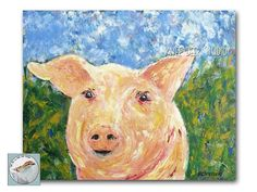 Happy Pig Painting 16x20 Acrylic on Canvas by KneeDeepOriginals