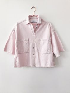 IRO's Nikow oversized boxy button up shirt is the perfect Spring top. Get this versitile top and wear it as a light jacket or boxy top. Oversized silhouette, Contrast color stiches and Cotton. Boxy Top, Spring Tops, Light Jacket, Oversized Shirt, Shirt Jacket, Button Up Shirts, Cotton, Pink, How To Wear