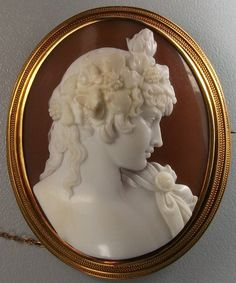 Sardonyx Shell, 15k gold cameo depicting Antinous Vertumnus, the young male lover of Emperor Hadrian.