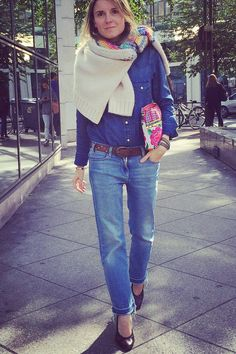 Let's #dressnormal today with H&M jeans, a Gap denim shirt, a Bellerose jumper, vintage Chanel pumps, and a Mexican clutch. Courtesy of Ilaria  - ELLE.com