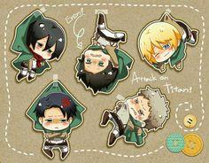 Cute SnK chibis:Mikasa, Levi, Eren, Armin and Jean ^ ^