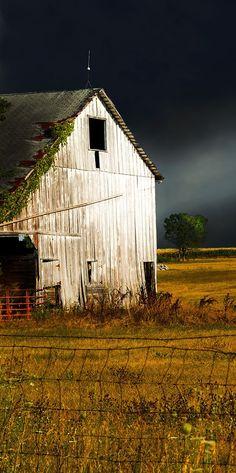 White Barn Dark Storm Cloud Sky