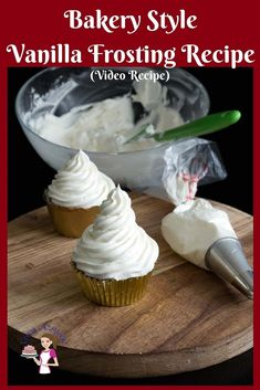 This is probably the best Bakery Style Vanilla Buttercream Frosting Recipe in just 5 minutes for cakes, cupcakes or cookies. This is probably the best Bakery Style Vanilla Buttercream Frosting Recipe in just 5 minutes for cakes, cupcakes or cookies. Vanilla Frosting Recipes, Best Buttercream Frosting, Homemade Frosting, Cupcake Recipes, Cupcake Cakes, Bakery Style Frosting Recipe, Best Icing For Cupcakes, Vanilla Frosting For Cupcakes, Recipes