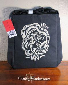 Kosta Boda Black Canvas Tote Bag Purse Adam, Eve, & Snake Ulrica Hydman Vallien #KostaBoda #TotesShoppers