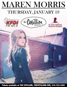 BENEFIT FOR ST. JUDE CHILDREN'S RESEARCH HOSPITAL PRESENTED BY KFDI MAREN MORRIS Adam Capps Band, KFDI, St. Jude  THU, JANUARY 19, 2017  DOORS: 6:00 PMSHOW: 7:00 PM $12.50 ADVANCE - $15 DAY OF SHOW TICKETS THIS EVENT IS ALL AGES All seating is general admission. Nancy's A-Maize-N Sandwiches will be here serving her famous #8 and more. Text COUNTRY to 49798 for concert updates and chances at FREE tickets. The Check Room is open during events to check your coats, hats and purses.