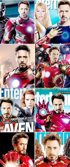 Robert Downey Jr. as Tony Stark in Entertainment Weekly - through the years.  (Trademark intense gaze...)