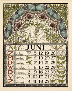 """ Calendar for June 1898 by Theodoor Willem Nieuwenhuis "" Calendar June, Art Calendar, Calendar Pages, Vintage Posters, Vintage Art, Zodiac Elements, Vintage Calendar, Hand Drawn Lettering, Art And Craft Design"