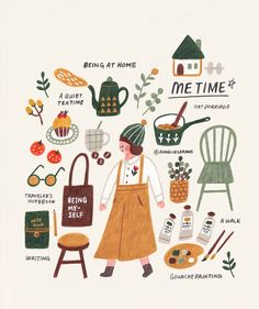 Tante S!fr@ loves this pin Some things I like to do during my me-time :) I think spending time by myself and for myself is very important. I truely enjoy it. Guache, Gouache Painting, Illustrations And Posters, Cute Illustration, No Time For Me, Me Time, Art Inspo, Illustrators, Self