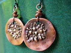 Hey, I found this really awesome Etsy listing at https://www.etsy.com/listing/199593279/rustic-copper-dangle-earrings-with