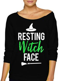 RESTING WITCH FACE Halloween Slouchy Sweatshirt