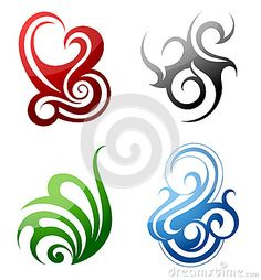 earth wind fire tattoo | Set of graphic design elements in tribal art style.