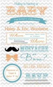 Chevron Invitations Baby shower invitation ideas, gender reveal party ideas, mustache or bow, turquoise and orange