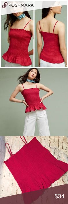 """Anthropologie Maeve Red Smocked Peplum Top Anthropologie Maeve Red Smocked Peplum Top Smocked Peplum Cami with adjustable straps Perfect to dress up or down for any occassion. 55% Cotton, 45% Linen Approximate: 17.¾"""" Length - Measured flat Anthropologie Tops"""