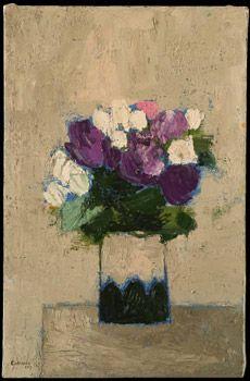 Bouquet violet et blanc au vase hongrois ⋅ 2002 — 92 × 60 cm -Bernard Cathelin