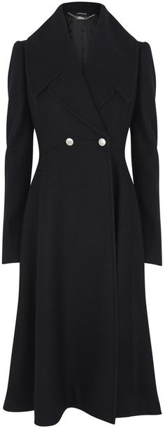 Alexander McQueen Black flared wool coat Kate wore to Remembrance Sunday 2014