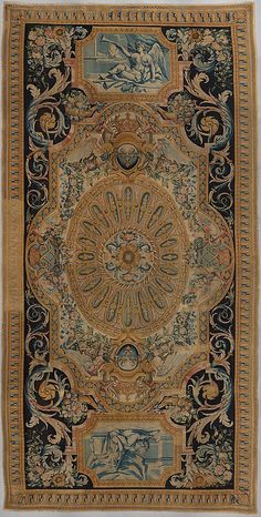 Carpet with Fame and Fortitude Savonnerie Manufactory (Manufactory, established 1626; Manufacture Royale, established 1663) Designer: after designs by Charles Le Brun (French, Paris 1619–1690 Paris) Designer: after designs by Louis Le Vau (1612–1670) Date: 1668–85 Culture: French, Paris Medium: Knotted and cut wool pile, woven with about 90 knots per square inch Dimensions: Overall: 358 x 181 in. (909.3 x 459.7 cm) [confirmed 5/19/2006]