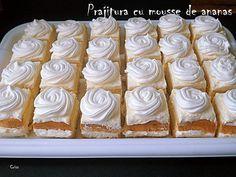 Arome si culori : Prajitura cu mousse de ananas Romanian Desserts, Romanian Food, Mousse, Donuts, Dessert Cake Recipes, Muffins, Diy Food, Cake Cookies, Cake Decorating