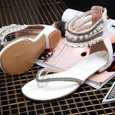 Women's beaded rhinestone Thong Flat sandals - gladiator Lining Material: PUModel Number: Type: Flat withSandal Type: GladiatorHeel Height: Flat Flip Flop Shoes, Slip On Shoes, Flip Flops, Closed Toe Sandals, Flat Sandals, Pearl Sandals, Block Sandals, Fashion Beads, Women's Fashion