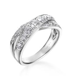 Hearts On Fire - Intermingle Collection 18K White Double Row Right Hand Ring