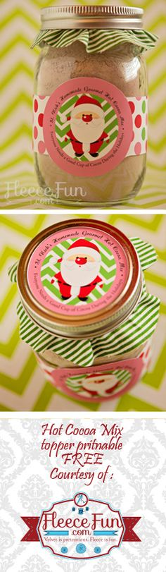 I love this cute free printable - and she has a super yummy hot chocolate mix recipe to go with it!  Love! Free Hot Chocolate Printable for Mason Jars on www.fleecefun.com