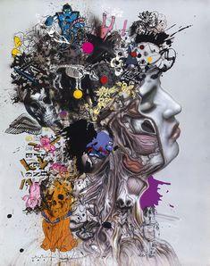 likeafieldmouse: Ronald Ventura - Numb - Oil on paper Modern Body Art, Contemporary Art, Modern Art, Mixed Media Collage, Collage Art, American Black Bear, Filipino Art, Philippine Art, Graffiti Lettering