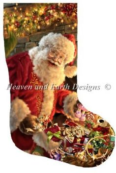 Stocking Filling the Stocking [GELSINGERST9823] - $19.00 : Heaven And Earth Designs, cross stitch, cross stitch patterns, counted cross stitch, christmas stockings, counted cross stitch chart, counted cross stitch designs, cross stitching, patterns, cross stitch art, cross stitch books, how to cross stitch, cross stitch needlework, cross stitch websites, cross stitch crafts