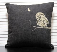 Nordic Sleepy Owl Pillow Cover Boho Indie Scandanavian Throw Pillow Cushion Cover Linen Shabby Chic Bird Decor Vintage Style