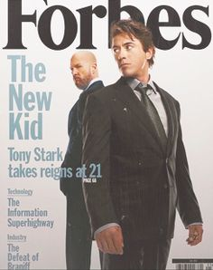 """Forbes Magazine - Tony Stark takes reins at 21. (Prop for """"Iron Man"""")  (And yes, """"reigns"""" is a typo that showed up in the movie!)"""