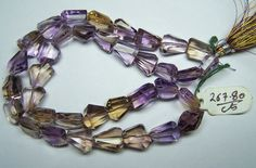 Unique 394 Cts Natural Ametrine (Amethyst & Citrine Bio) Faceted Tumble/Nugget Beads AAA (36 Pcs) Ful/l 18 inch Strand > Bracelet Earrings