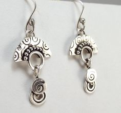 Fan Shaped Sterling Earrings Stamped by katherinefathisilver etsy $45