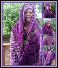 Mesh Wrap , Oversize Mesh Wrap , Crochet Wrap , Two Toned Wrap , Women Wrap , Circular Wrap , Crochet Scarf With matching Side Brim Hat