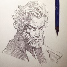 Crosshatching is used here for the darkest parts of the drawing: i. portions of the coat and the shadowed parts of his hair and face. The less shadowed sections have single hatch lines. Figure Drawing, Drawing Reference, Drawing Sketches, Pencil Drawings, Sketching, Illustrator, Poses References, Art Graphique, Drawing Tips