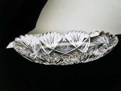"American Brilliant Cut Glass Crystal Relish Boat Oval 7 3/4"" Long Celery Dish"