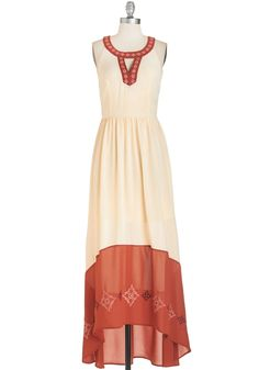 Way to Glow Dress. Celebrate your accomplished sense of style by donning this stunning ivory and burnt-orange frock. #cream #modcloth