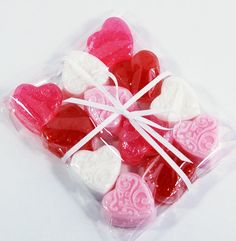 Valentine Hearts Glycerin Soap, One Dozen Filigree Hearts in Red, White, Pink and Fuchsia with Aloe Vera, Olive Oil and Shea Butter