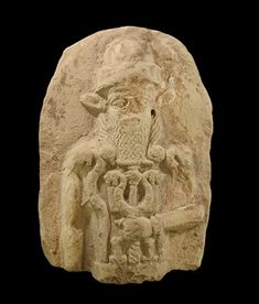 Old Babylonian Plaque with Nergal, Century BCA D-shaped baked clay plaque fragment with high-relief figure of a standing god Nergal wearing tall cap, with long curly hair and heard, a pair of bull(?) ears, in left hand holding a mace. Demons In The Bible, Lion Ears, Biblical Verses, Sumerian, God Of War, Ancient Artifacts, North Africa, 17th Century, Deities