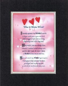 Touching and Heartfelt Poem for Mothers - [Mothers Are Special! ] on 11 x 14 inches Double Beveled Matting