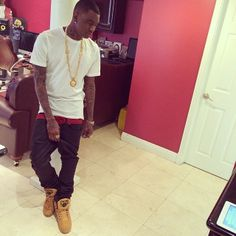 Soulja Boy wearing Ewing 33 Hi Wheat Celebrity Sneakers 65eb0f9e0