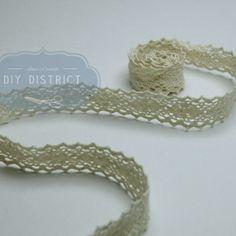 Ruban dentelle crochet blanc cassé 1,5cm