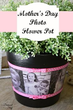 DIY mother's day gifts DIY Mother'€™s Day Photo Flower Pot DIY mother's day gifts Hate the pink but can easily change!