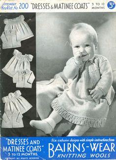 vintage baby knit pattern, lace dress, coat cardigan, jacket