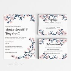 Romantic Floral Wedding Invitation Set