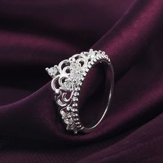 Princess Queen Crown Silver Plated Ring Design Wedding Crystal Ring Jewelry