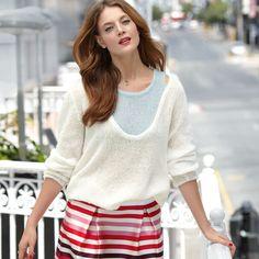 Пуловер с цельновязанным топом