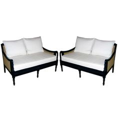 One Pair of British Colonial Style Two Seat Settees | From a unique collection of antique and modern sofas at https://www.1stdibs.com/furniture/seating/sofas/