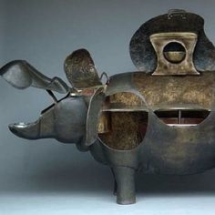 A rare bronze hippopotamus bar by late famed artist Lalanne.