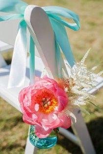 Tiffany Blue aisle marker, floral, ribbon #tiffany #blue #wedding www.BrassTacksEvents.com www.facebook.com/BrassTacksEvents www.twitter.com/BrassTacksEvent