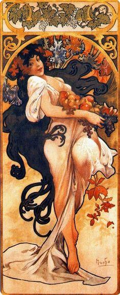 The Seasons, Autumn by Alphonse Mucha (1860 - 1939)  #AlphonseMucha