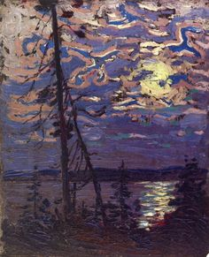 Tom Thomson (1877–1917), Moonlight (1915), oil on composite wood-pulp board, 26.4 x 21.6 cm, Private collection